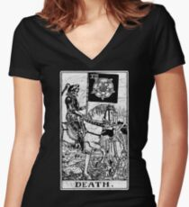 Death Tarot Card - Major Arcana - fortune telling - occult Women's Fitted V-Neck T-Shirt