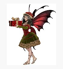 Christmas Fairy Elf Girl Holding a Gift Photographic Print