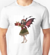 Christmas Fairy Elf Girl Holding a Gift Unisex T-Shirt