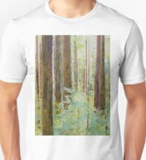 Seeing the Forest through the Trees, watercolor and mixed media on paper mounted on board, wax finish Unisex T-Shirt