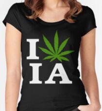I Love Iowa Marijuana Cannabis Weed T-Shirt Women's Fitted Scoop T-Shirt