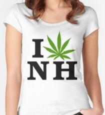 I Love New Hampshire Marijuana Cannabis Weed T-Shirt Women's Fitted Scoop T-Shirt