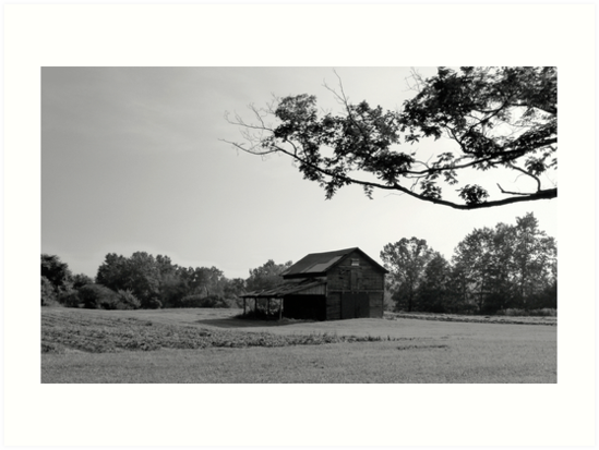 b8d565716a9 Barn and Field black and white landscape photography