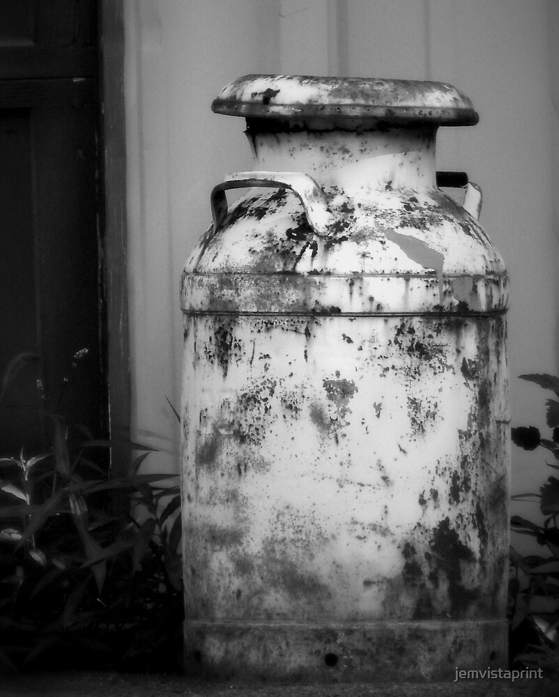 Vintage Rustic Milk Can black and white photography by jemvistaprint