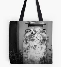 Vintage Rustic Milk Can black and white photography Tote Bag