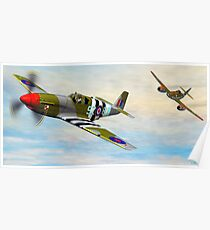P-51 Mustang with a Me-262 on it's Six Poster