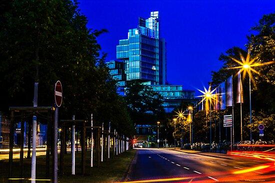 blue hour at friedrichswall (2) by dirk hinz