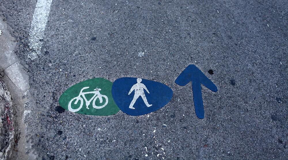 Walk and bike path Sign by mrivserg