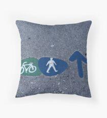 Walk and bike path Sign Throw Pillow
