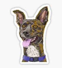 Funny Colorful Sketched Dog with Big Ears Sticker