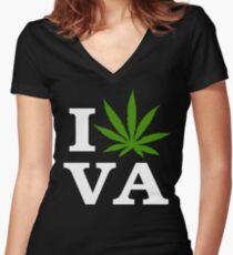 I Love Virginia Marijuana Cannabis Weed T-Shirt                                          Women's Fitted V-Neck T-Shirt