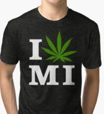 I Love Michigan Marijuana Cannabis Weed T-Shirt                                          Tri-blend T-Shirt