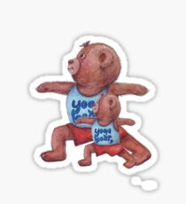 Daddy and Baby bear in Yoga Warrior 2 pose Sticker
