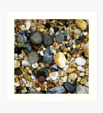 Wet pebbly beach Art Print