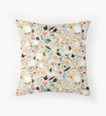 pattern of funny birds Throw Pillow