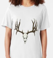 Mule deer skull Slim Fit T-Shirt