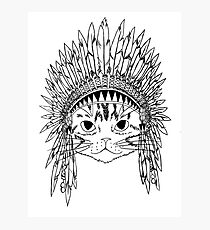 Cat with Headdress - white Photographic Print