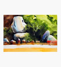 Whale Rock in watercolour Photographic Print