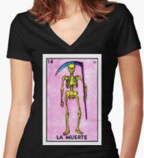 La Muerte  Women's Fitted V-Neck T-Shirt
