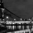 Hammersmith by night (monochrome) by mikeosbornphoto