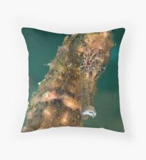 Dark spotted seahorse - portrait Throw Pillow