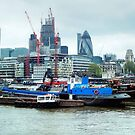 Barges On River Thames by Eve Parry