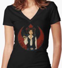 Rebel Girl Women's Fitted V-Neck T-Shirt
