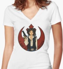 Rebel Girl Women's Fitted V-Neck T-Shirt