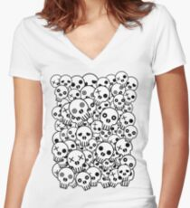 Skull Pile Women's Fitted V-Neck T-Shirt