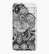 Gorgeous Mandala Damask Art in Black and White Ink Illustration on Watercolor Paper iPhone Case