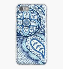 Gorgeous Mandala Damask Art Turquoise Blue Ink Illustration on Watercolor Paper iPhone Case/Skin