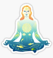 Young woman practicing meditation 2 Sticker
