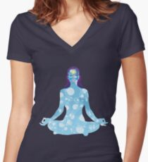 Young woman practicing meditation 6 Women's Fitted V-Neck T-Shirt
