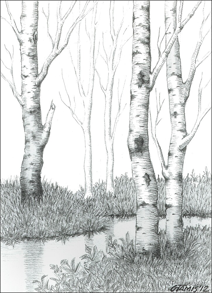 """BIRCH TREE 02&qu... White Paper Bag"