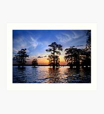Sunset over Lake Martin, Louisiana Art Print