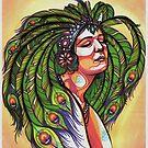 lola, peacock feather showgirl pin-up art by resonanteye