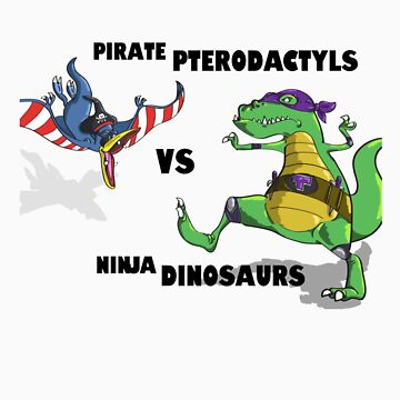 Pirate Pterodactyls vs Ninja Dinosaurs by cmgerard
