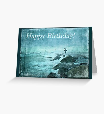 Birthday Greeting Card - Fishing On The Jetty Greeting Card
