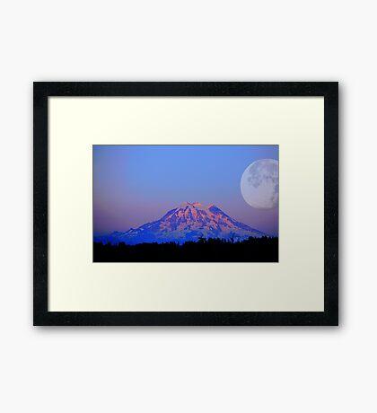 The Super Moon and Mt. Rainier Framed Print