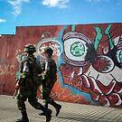 Soldiers and Street Art, Bogota by Bob Ramsak