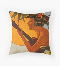 Hula Girl Playing the Ukulele Throw Pillow