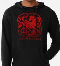 Year of The Horse Paper Cut Design Lightweight Hoodie