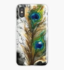 Abstract Watercolor Peacock Feather iPhone Case