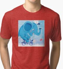 Cycling - Rondy the Elephant on his bike Tri-blend T-Shirt