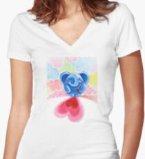 Me And My Heart - Rondy the Elephant In Love Women's Fitted V-Neck T-Shirt