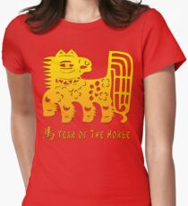 Chinese New Year of The Horse Papercut Women's Fitted T-Shirt