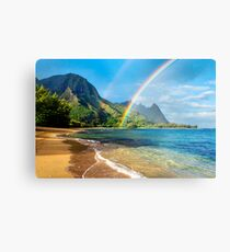Rainbow at Tunnels Beach Hawaii Metal Print