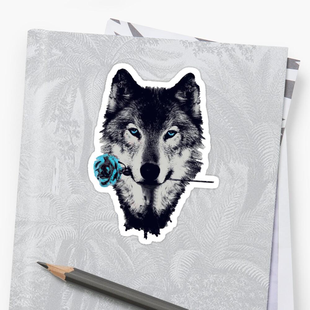 Wolf mit einer Rose\