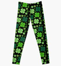 Saint Patrick's Day, Four Leafed Clovers - Green Leggings