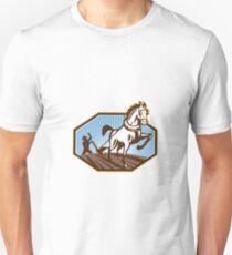 Farmer and Horse Plowing Farm Retro T-Shirt